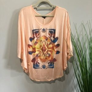 Obey top XXS psychedelic graphic hippie tunic